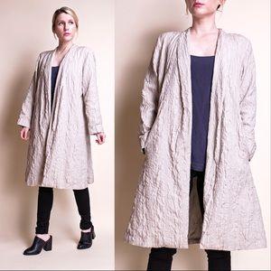 Eileen Fisher minimalist beige silk duster jacket